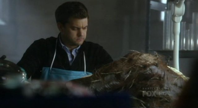 Fringe S4x16 - Peter examines the creature in the lab