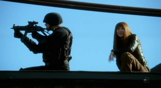 Fringe S4x17 - Mother Alt-Livia tells Lincoln and Alt-Lincoln to get to work via comms system