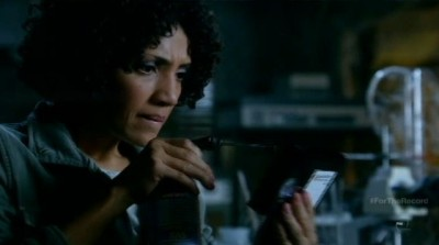 Fringe S5x03 - Astrid calls the Fringe team with information from the video tapes she fixed about the mine