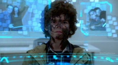 Fringe S5x03 - River Massey looks at his Dad and Mom in the crystal memory data libray