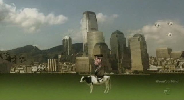 Fringe S5x09 - Walter gets to ride Gene the Cow!