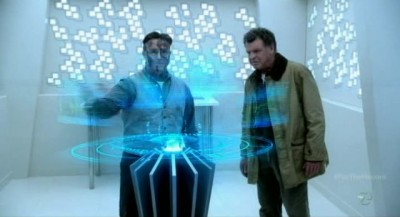 Fringe S5x03 - Edwin Massey with Walter Bishop in the history archives