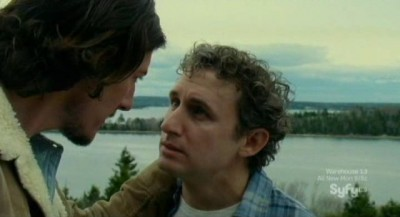 Haven S3x01 - Duke grabs hold of Wesley by the scruff of the neck