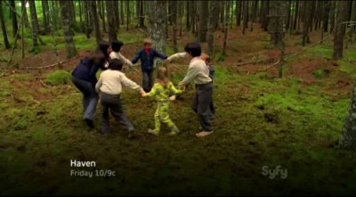 Haven S4x04 - Carmen Brock plays ring around the posey with the Douen children