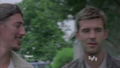 Haven S4x06 - Duke and Nathan smirk at Gloria's Club Med drinking joke