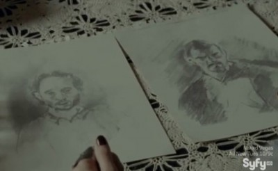 Haven S4x09 - Audrey is shown drawings of Sinister Man and Heavy from Wormhole bar barn