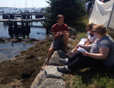 Nora and Lilla Zuckerman working with Colin Ferguson on Haven - image courtesy Lilla Zuckerman Twitter feed!