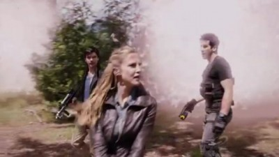 Primeval New World S1x13 - Connor Dylan and Evan are safe at the anomlay hub