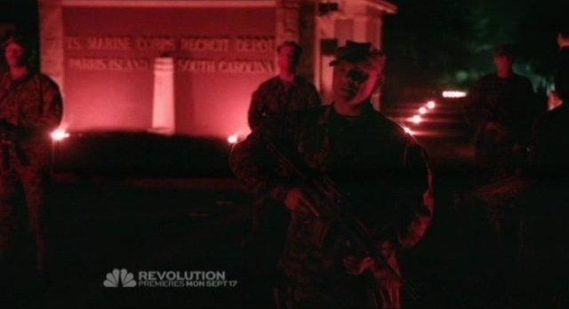 Revolution S1x01 - Eerie Marine Corp Depot flashback where the Monroe Republic began