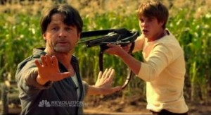 Revolution S1x01 - Moments before Ben is shot and killed by Captain Neville