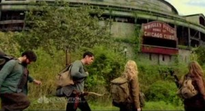 Revolution S1x01 - The ghostly past as Chicago Wrigley field looms in the background