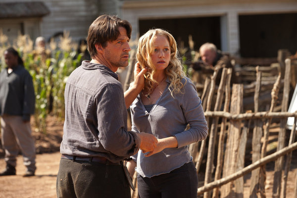 Revolution S1x01 Tim Guinee as Ben Matheson and Anna Lise Phillips as Maggie