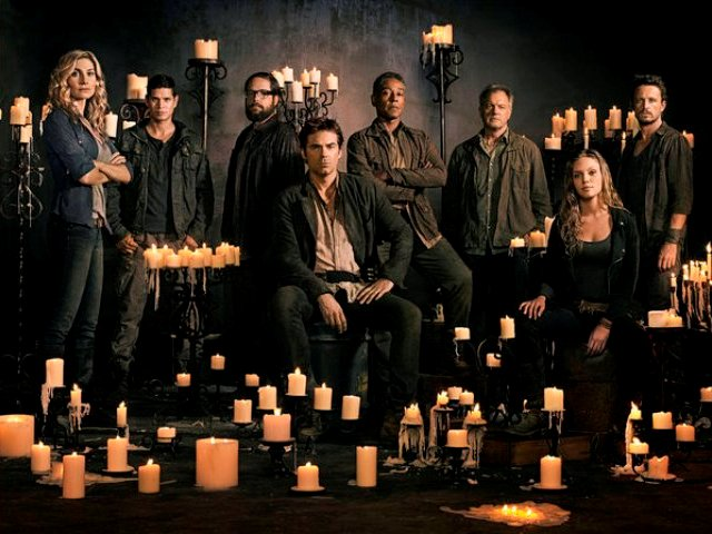 Revolution S2 cast banner -- Pictured: (l-r) Elizabeth Mitchell as Rachel Matheson, JD Pardo as Jason Neville, Zak Orth as Aaron Pittman, Billy Burke as Miles Matheson, Giancarlo Esposito as Major Tom Neville, Stephen Collins as Dr. Gene Porter, Tracy Spiridakos as Charlie Matheson, David Lyons as Gen. Sebastian Monroe -- (Photo by: Nino Munoz/NBC)