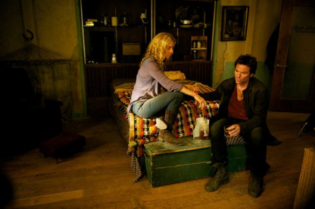 """Revolution S2x04 - Miles and Rachel share information""""Patriot Games"""" Episode 204 -- Pictured: (l-r) Elizabeth Mitchell as Rachel Matheson, Billy Burke as Miles Matheson -- (Photo by: Felicia Graham/NBC)"""