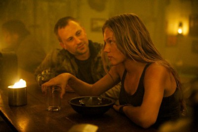 """Revolution S2x04 - Charlie's character has grown up  """"Patriot Games"""" Episode 204 -- Pictured: (l-r) Jeff Swearingen as Rick, Tracy Spiridakos as Charlie Matheson -- (Photo by: Felicia Graham/NBC)"""