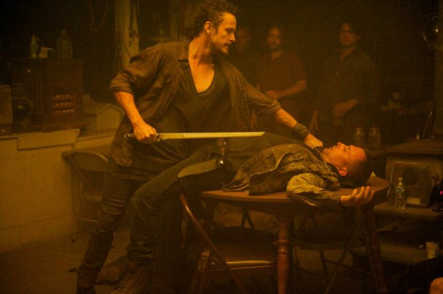 "Revolution S2x04 - David Lyons dispatches the clansmen for attempting to rape Charlie  ""Patriot Games"" Episode 204 -- Pictured: (l-r) David Lyons as Gen. Sebastian Monroe, Jeff Swearingen as Rick -- (Photo by: Felicia Graham/NBC)"