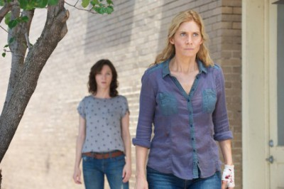 """Revolution S2x05 - Cynthia begs Rachel to help find Aaron  """"One Riot, One Ranger"""" Episode 205 -- Pictured: (l-r) Jessica Collins as Cynthia, Elizabeth Mitchell as Rachel Matheson -- (Photo by: Felicia Graham/NBC)"""