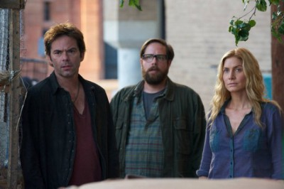 """Revolution S2x05 - Aaron tells Miles and Rachel that he killed the Patriot guards """"One Riot, One Ranger"""" Episode 205 -- Pictured: (l-r) Billy Burke as Miles Matheson, Zak Orth as Aaron Pittman, Elizabeth Mitchell as Rachel Matheson -- (Photo by: Felicia Graham/NBC)"""