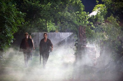 """Revolution S2x056 - Miles escorts Charlie and Monroe outside of town """"One Riot, One Ranger"""" Episode 205 -- Pictured: Billy Burke as Miles Matheson, Tracy Spiridakos as Charlie Matheson, David Lyons as Gen. Sebastian Monroe -- (Photo by: Felicia Graham/NBC)"""