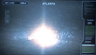 Revolution S2x01 - Elizabeth Mitchell flashback to Atlanta being destroyed by nuclear blast