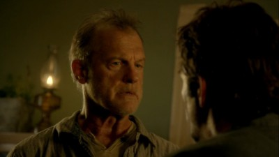 Revolution S2x01 - Gene accuses Miles of sleeping with Rachel before the power went out and tells him to stay away from her