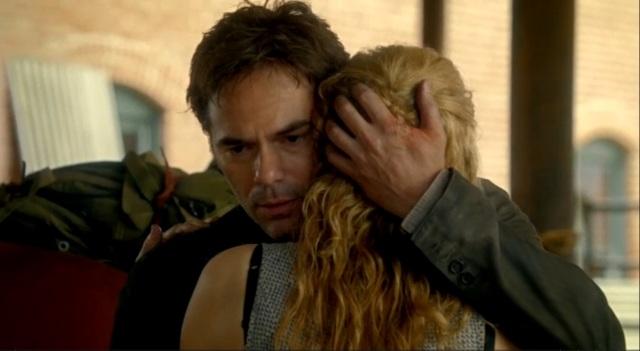Revolution S2x01 - Rachel gets a goodbye hug from Miles