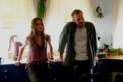 """Revolution S2x06 - Charlie and Grandpa Gene together again  """"Dead Man Walking"""" Episode 206 -- Pictured: (l-r) Tracy Spiridakos as Charlie Matheson, Stephen Collins as Dr. Gene Porter -- (Photo by: Felicia Graham/NBC)"""