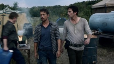 Revolution S2x06 - A refugee campo three years after the blackout where we see a younger Miles and Monroe