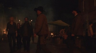 Revolution S2x06 - Aaron Rachel and Charlie are passed by the Texas Rangers outside the saloon