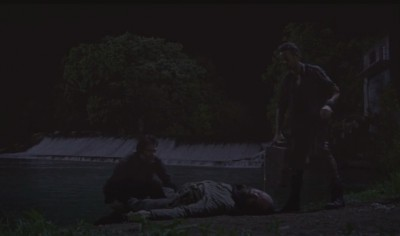Revolution S2x06 - Miles and Monroe dump John Franklin Fry in the river with a concrete block affixed to his body