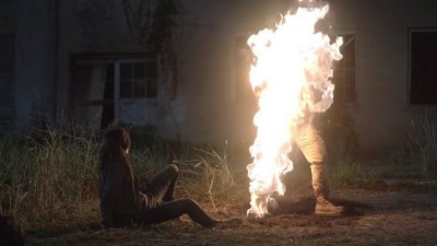 Revolution S2x07 - Aaron has another Nanite BBQ while Cynthia stares in horror