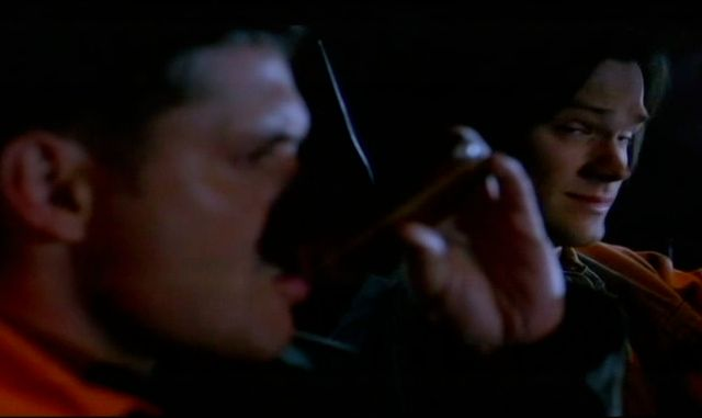 Supernatural S7x13 - Dean taking a swig out of Bobby's flask