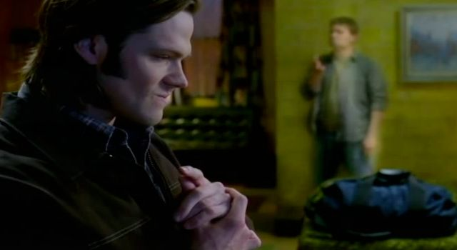 Supernatural S7x15 - Sam pressing his Lucifer Be Gone button