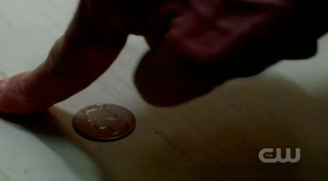 Supernatural S7x19 - Bobby tries to move a quarter