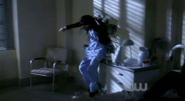 Supernatural S7x21 - Hester flings Meg across the room