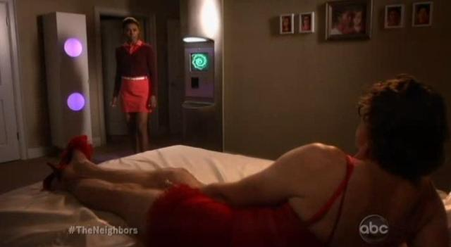 The Neighbors S1x07 Larry wears a sexy nightgown