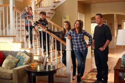 """The Neighbors S2x01 - Family Conference - The Weavers - As the summer winds down, Amber and Reggie reveal to their families that they've been dating. Jackie calls for a family conference - in a newly revealed basement at the Bird-Kersee home - at which both families vote on whether or not the couple can stay together. Things approach fever pitch until Abby interrupts with a heartfelt speech about how Reggie is the only person to ever make Amber smile. Then, just as the families are about to embrace the relationship, an unexpected guest arrives to compete for Reggie's affections, on the Season Premiere of """"The Neighbors,"""" FRIDAY, SEPTEMBER 20 (8:31-9:00 p.m., ET) on the ABC Television Network. (ABC/Michael Ansell)ISABELLA CRAMP, MAX CHARLES, CLARA MAMET, JAMI GERTZ, LENNY VENITO"""