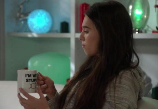 The NeighborsS2x11 Amber with mug Im with stupid