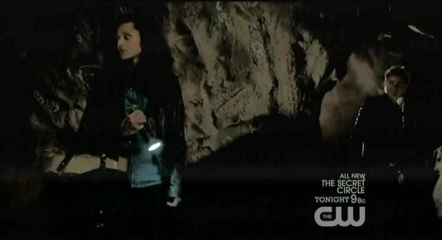 The Vampire Diaries S3x13 Bonnie and Stefan in cave with coffin