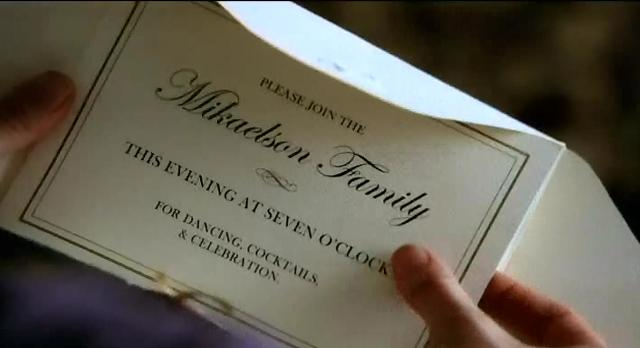 The Vampire Diaries S3x14 Mikaelson invitation