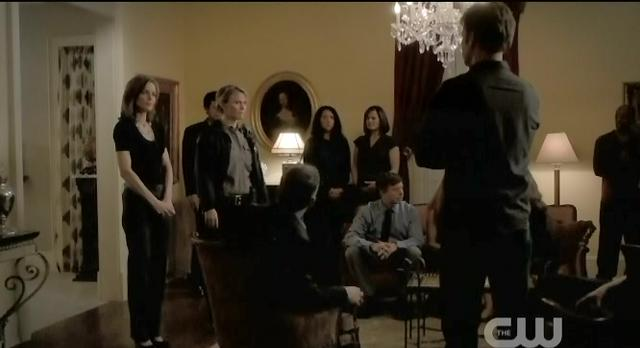 The Vampire Diaries S3x21 Alaric telling the council that sherrif Liz Forbes has a vampire daughter and Carol Lockwood has a hybrid son