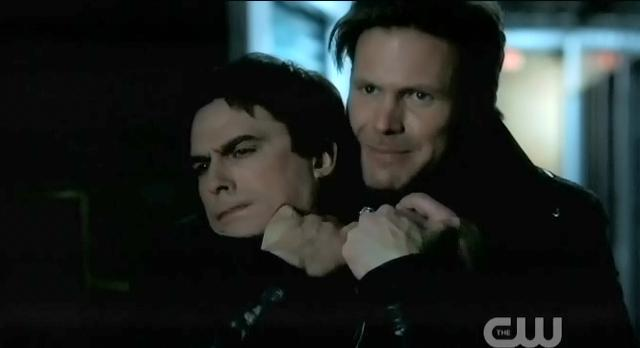 The Vampire Diaries S3x22 Alaric choking Damon