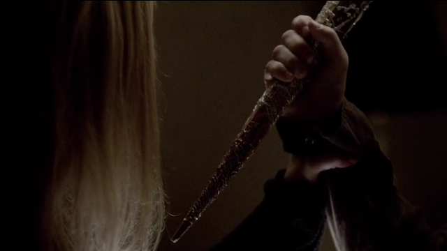 The Vampire Diaries S4x11 - White oak tree dagger pointed at Rebekah