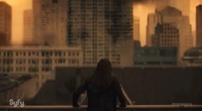 Van Helsing S1x01 Vanessa wonders if her daughter is alive in the ruined city landscape