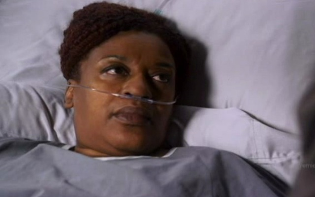 Warehouse 13 S2x01 - Mrs Frederick in the hospital bed