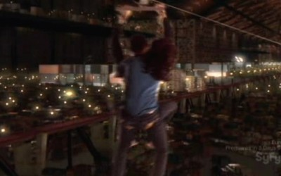 Warehouse 13 S2x01 - Pete and Myka on the zip line