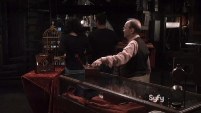 Warehouse 13 S4x14 Monty lifts an artifact