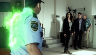 Warehouse 13 S4x17 Myka Pete and burning Guard
