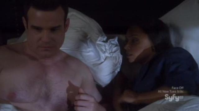 Warehouse 13 S4X07 Pete and Deb in bed
