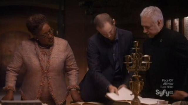 Warehouse 13 S4X10 Fredrick Jinx and Adrian check out diary